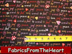 Peace Love Joy Valentine Hearts Words on Black Fabric