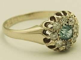 28 ct Diamond and Blue Zircon Yellow Gold Dress Ring   Antique