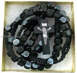 Black Wood Rosary Necklace Cube Beaded Wooden Cross 27 Gift Boxed