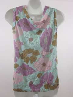 you are bidding on a woo blue pink purple brown floral tank top in