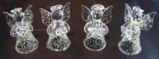 NEW Hand Blown Glow in the Dark Glass Angel Christmas Ornament set of
