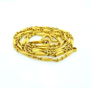 LADIES MENS 24K YELLOW GOLD BAR CHAIN LINK NECKLACE FINE JEWELRY 18.5g