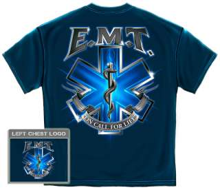 EMT on call for life T Shirt EMS logo medical paramedic electric biker