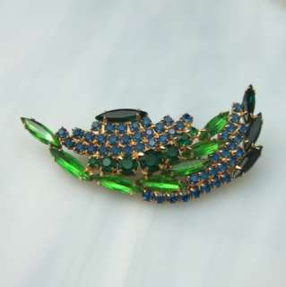 Teal Blue Green Marquise 3 Rhinestone Vintage Pin Brooch