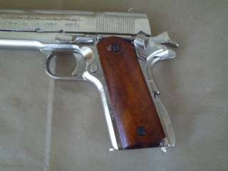 Replica Nickel 1911 Metal 45 Colt Pistol Gun Auto NON FIRING Prop