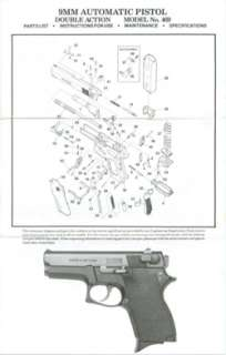 SMITH & WESSON 9MM AUTOMATIC PISTOL #469 MANUAL
