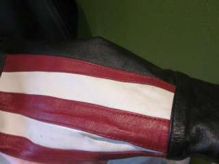 Black Motorcycle Leather Jacket USA Biker Sz M FLAG EAGLE WINGS