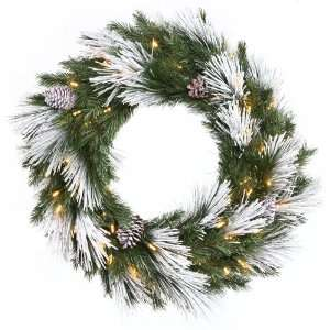42 Flocked Mix Pine Christmas Wreath 100 WmWht