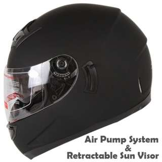 DUAL VISOR MATTE BLACK STREET MOTORCYCLE HELMET W/ AIR PUMP DOT Size