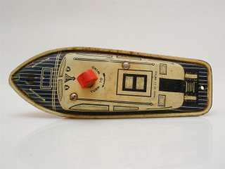Vintage Tin Wind Up Motor Boat 1950s GT Britain Mettoy
