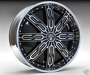30 DUB SPIN Tycoon Wheel SET 30x10 Black Chrome Spinner Rims RWD 5 6