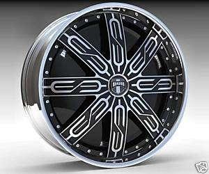30 DUB SPIN Tycoon Wheel SET 30x10 Black Chrome Spinner Rims RWD 5 6