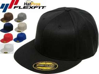 FLEXFIT® 210 Premium Flatbill Blank Fitted Flat Bill Cap Hat 6210