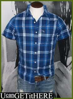 Mens Abercrombie Plaid Dress Shirt M NWT Blue White Short Sleeve