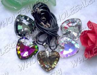 15strds Heart 33*32MM Crystal Glass Pendant Necklaces