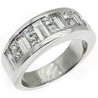 MENS 3.5 CARAT PRINCESS BAGUETTE CUT DIAMOND RING WEDDING BAND 18KT
