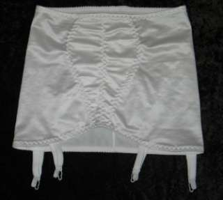 16 18 20 22 & 24 WHITE SATIN LOOK OPEN BOTTOM SUSPENDER GIRDLE
