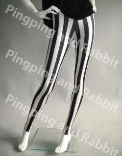 and White Vertical Stripes Mime Spandex Leggings Pants Striped Tights