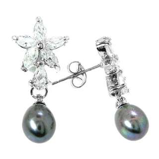 18k white gold plated stone color black pearl stone cut oval stone