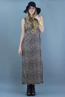 90s  LEOPARD Cheetah ANIMAL Print FESTIVAL Maxi Dress