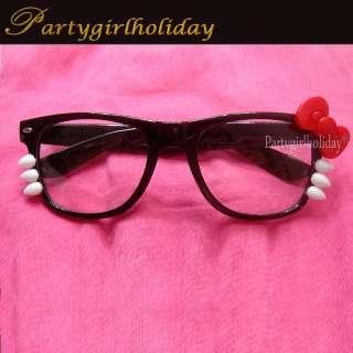 Lovely Hello Kitty NerdyCat Costume Cartoon Red bow Glasses Sunglasses