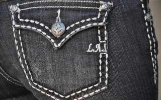LA Idol jeans SZ 0 15 DARK GRAY white stitching BOOT CUT FAST SHIPPING