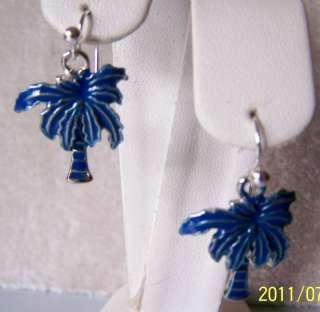 BLUE PALM TREE EARRINGS IN 926 STERLING SILVER~ENAMEL