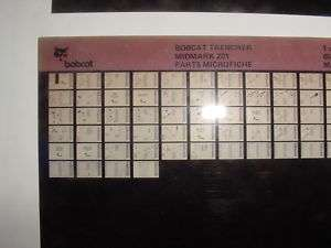 MELROE BOBCAT MIDMARK 201 TRENCHER PARTS MICROFICHE