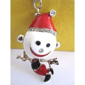 Purse Charm Red Snowman Crystals Rhinestone Key Chain Keyring Holder