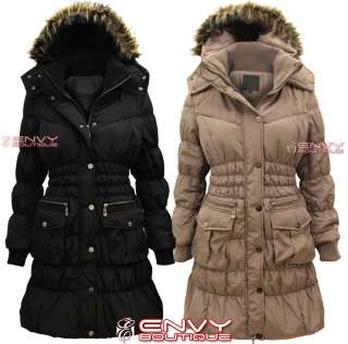 QUILTED PADDED FAUX FUR HOOD LONG PARKA JACKET COAT WOMENS SIZE 8 14