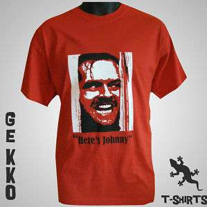 NEW HERES JOHNNY SHINING CULT FILM RETRO T SHIRT RED
