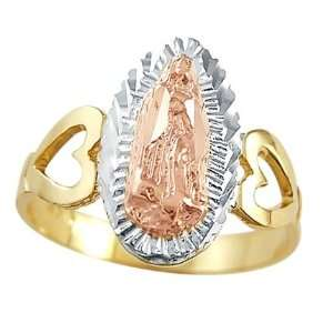 Religious Virgin Mary Ring 14k White Rose Yellow Gold Band