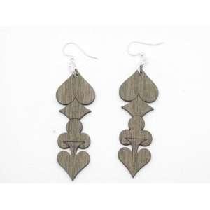 Tan Full House Wooden Earrings GTJ Jewelry