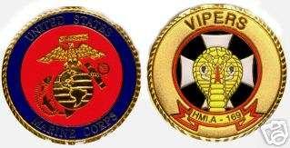 USMC MARINE CORPS HMLA 169 VIPERS CHALLENGE COIN