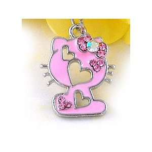 Pink Bow Kitty Cat Cell Phone Charm c728