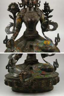 Old Tibetan Purple Bronze Cloisonné Green Tara Statue
