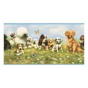Playful Puppies and Butterflies Wallpaper Border: Home