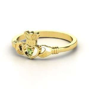 Delicate Claddagh Ring, 14K Yellow Gold Ring with Green