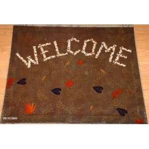 Canvas Floor Cloth Rug with Welcome in Birch Twig Style (With Ferns