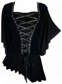 Gothic Victorian Butterfly Sleeves Black Corset Top