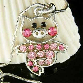 Swarovski crystal Pink PIG Piggy Piglet Charm Pendant Chain Necklace