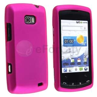 Rubber Hot Pink Hard Snap on Cover Skin Case For LG Ally VS740