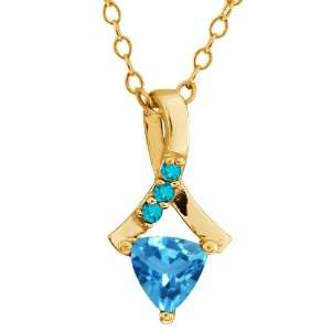 0.62 Ct Trillion Swiss Blue Topaz Gold Plated Sterling