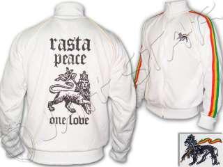 Veste Jacket Rasta Reggae Peace Lion of Judah Blanc White FR