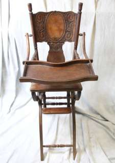 L548 ANTIQUE AMERICAN VICTORIAN OAK PRESSED BACK HIGH CHAIR STROLLER