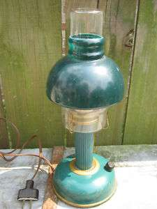 Old Colonial Early American Green Glass Electric Oil Lamp 13 1960s