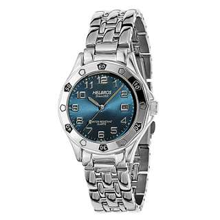 Helbros Mens Silver Tone Dress Watch/Blue Dial