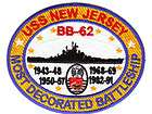 US NAVY SHIP PATCH, USS NEW JERSEY, BB 62, MOST DECORATED BATTLESHIP