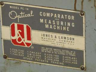 JONES & LAMSON PC 14 OPTICAL COMPARATOR 14