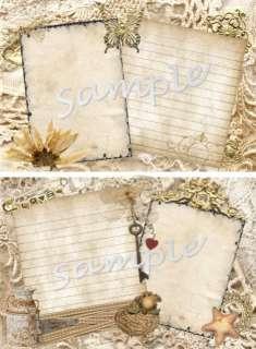 RECIPE CARDS *Vintage Lace Scrapbook Rustic Elegance